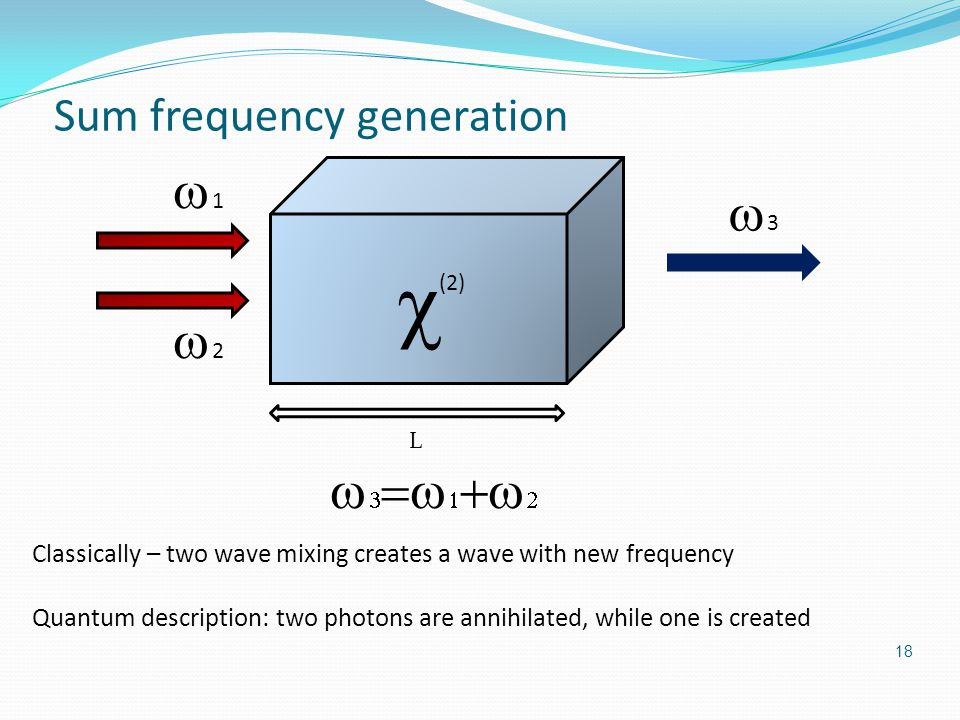 Sum frequency generation  (2) 33 11 22 L 18       Classically – two wave mixing creates a wave with new frequency Quantum description: two photons are annihilated, while one is created