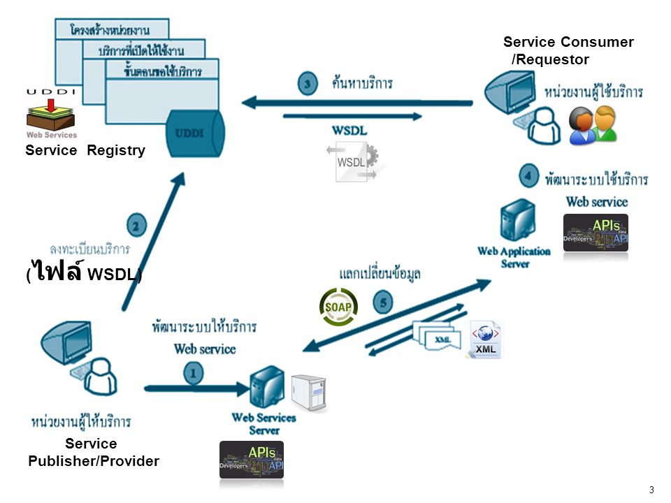 www.li.mahidol.ac.th 3 Service Publisher/Provider ( ไฟล์ WSDL) Service Consumer /Requestor Service Registry
