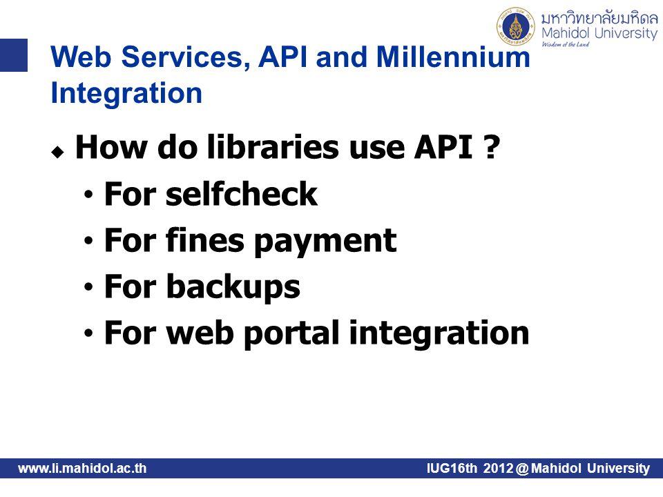 www.li.mahidol.ac.th  What might you do with an API.