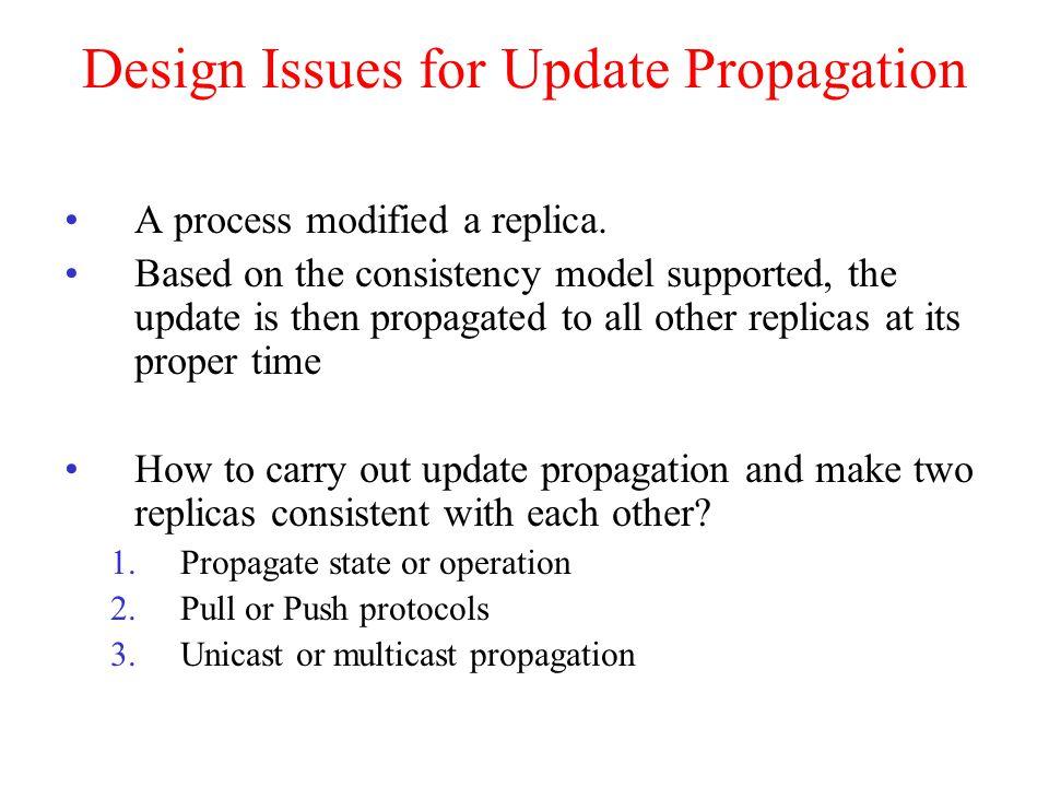 Design Issues for Update Propagation A process modified a replica.