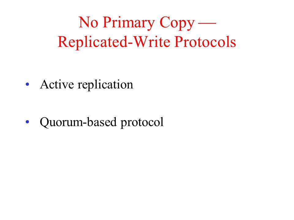 No Primary Copy  Replicated-Write Protocols Active replication Quorum-based protocol