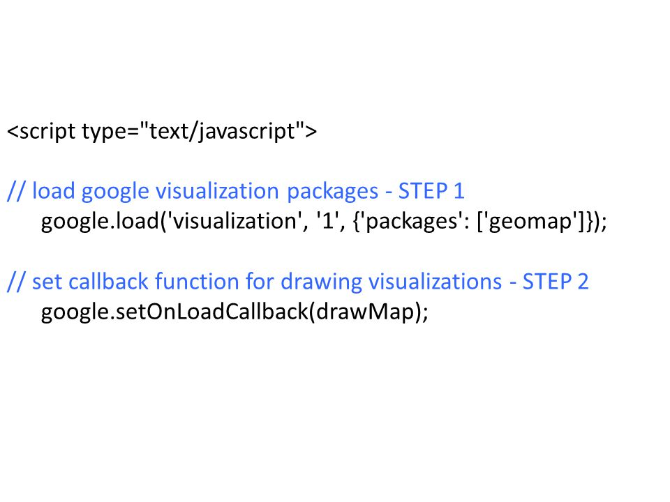 // load google visualization packages - STEP 1 google.load('visualization', '1', {'packages': ['geomap']}); // set callback function for drawing visua