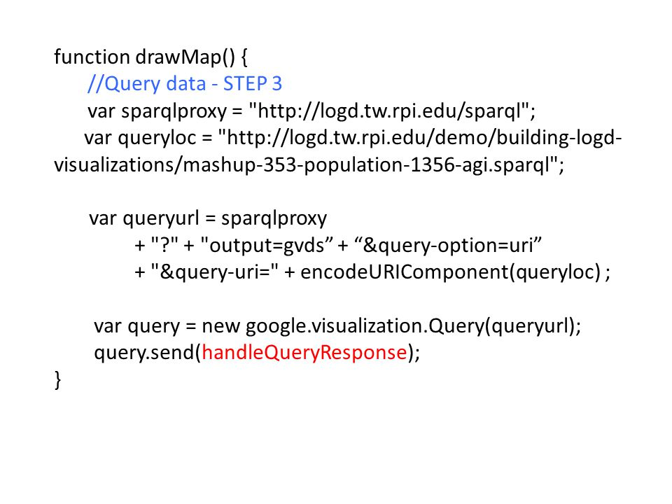 function drawMap() { //Query data - STEP 3 var sparqlproxy =