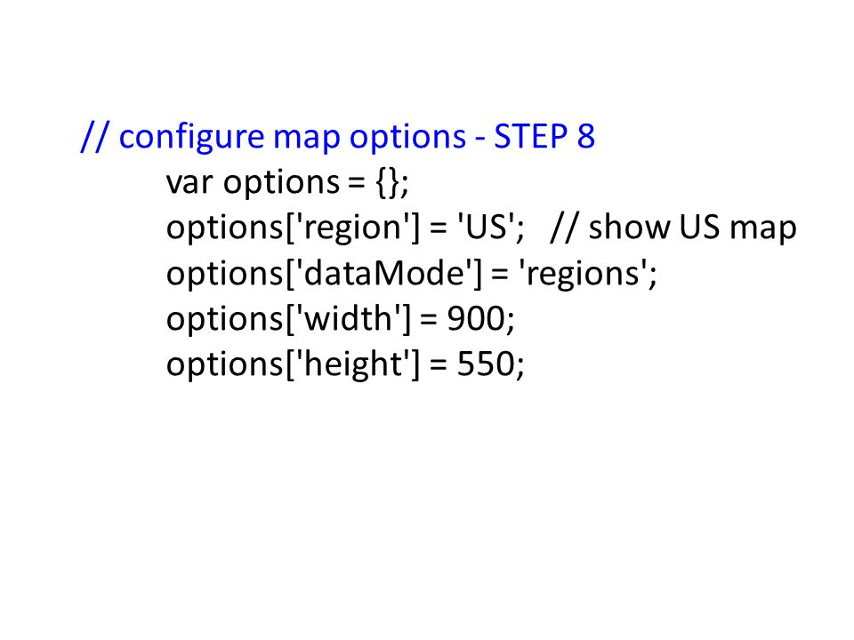 // configure map options - STEP 8 var options = {}; options['region'] = 'US';// show US map options['dataMode'] = 'regions'; options['width'] = 900; o