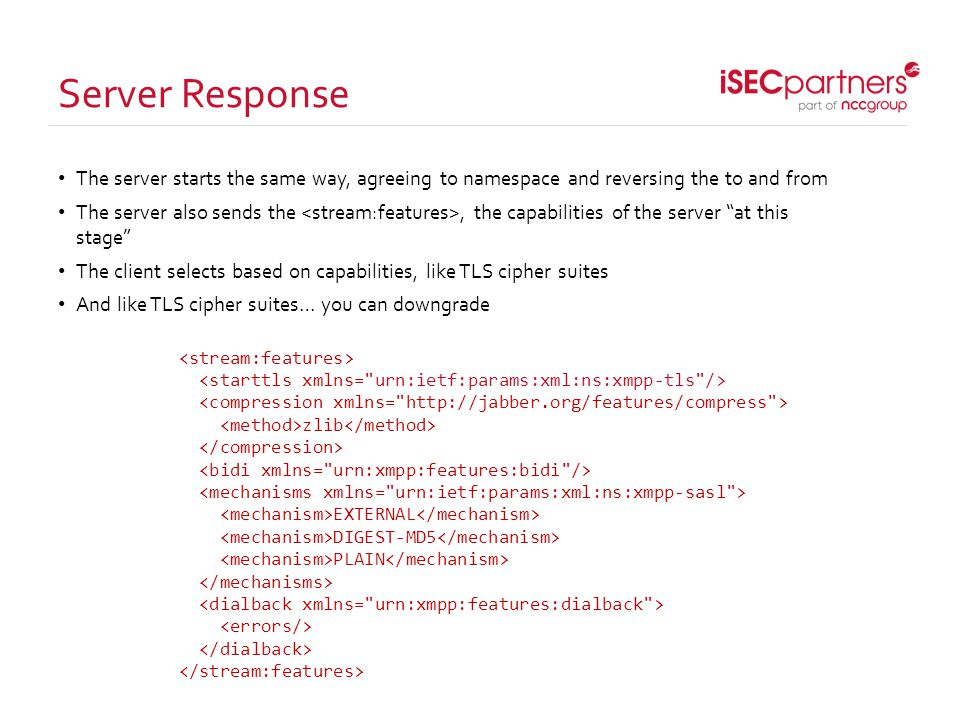 Server Response The server starts the same way, agreeing to namespace and reversing the to and from The server also sends the, the capabilities of the