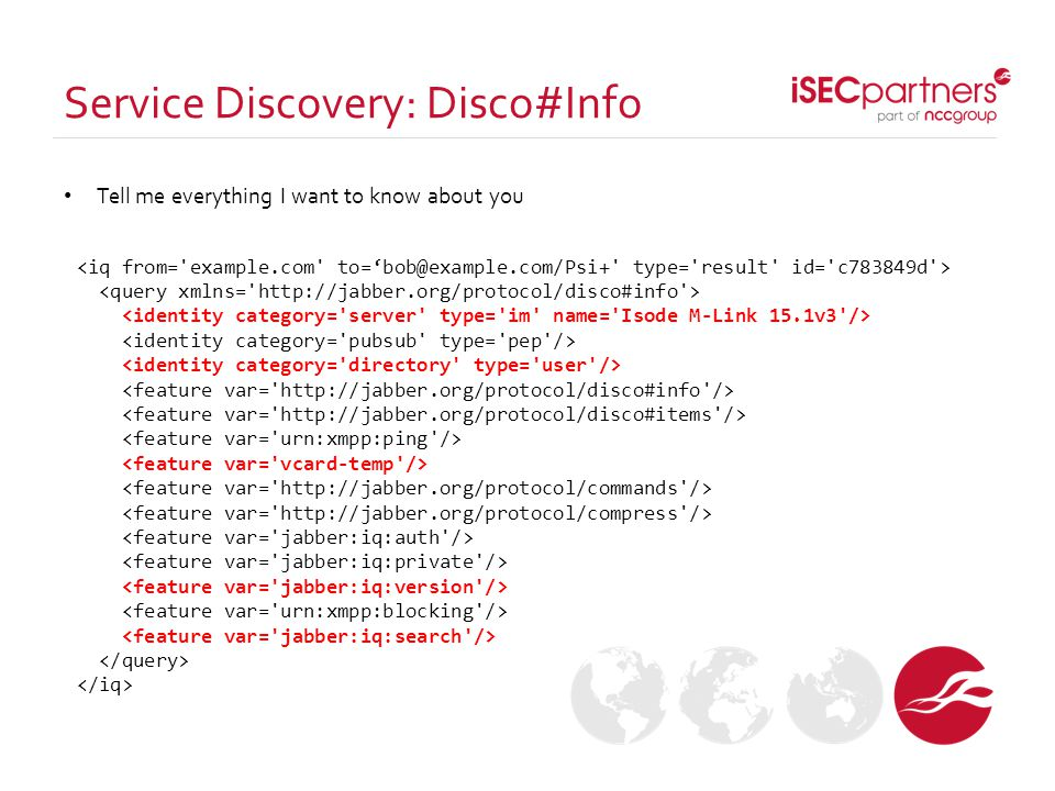 Service Discovery: Disco#Info Tell me everything I want to know about you