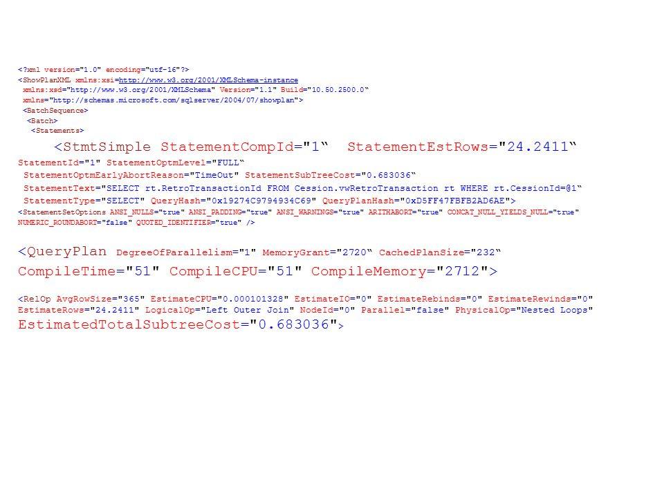 <ShowPlanXML xmlns:xsi=http://www.w3.org/2001/XMLSchema-instancehttp://www.w3.org/2001/XMLSchema-instance xmlns:xsd= http://www.w3.org/2001/XMLSchema Version= 1.1 Build= 10.50.2500.0 xmlns= http://schemas.microsoft.com/sqlserver/2004/07/showplan > <StmtSimple StatementCompId= 1 StatementEstRows= 24.2411 StatementId= 1 StatementOptmLevel= FULL StatementOptmEarlyAbortReason= TimeOut StatementSubTreeCost= 0.683036 StatementText= SELECT rt.RetroTransactionId FROM Cession.vwRetroTransaction rt WHERE rt.CessionId=@1 StatementType= SELECT QueryHash= 0x19274C9794934C69 QueryPlanHash= 0xD5FF47FBFB2AD6AE >