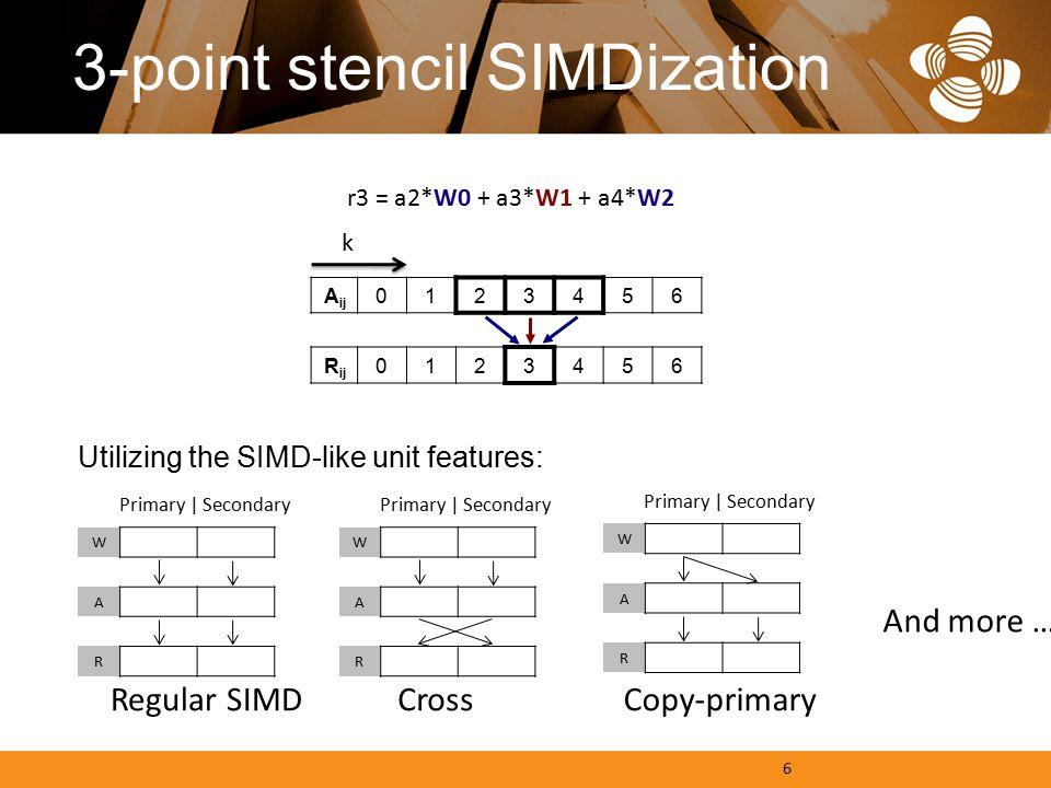 3-point stencil SIMDization Utilizing the SIMD-like unit features: A ij 0123456 R ij 0 123456 k W A R r3 = a2*W0 + a3*W1 + a4*W2 Primary | Secondary 6 Regular SIMDCrossCopy-primary And more … W A R Primary | Secondary W A R