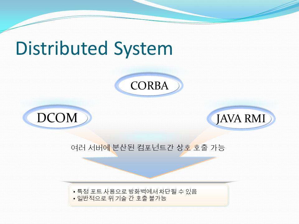 Distributed System JAVA RMI CORBA DCOM 특정 포트 사용으로 방화벽에서 차단될 수 있음 일반적으로 위 기술 간 호출 불가능 특정 포트 사용으로 방화벽에서 차단될 수 있음 일반적으로 위 기술 간 호출 불가능 여러 서버에 분산된 컴포넌트간 상호 호출 가능