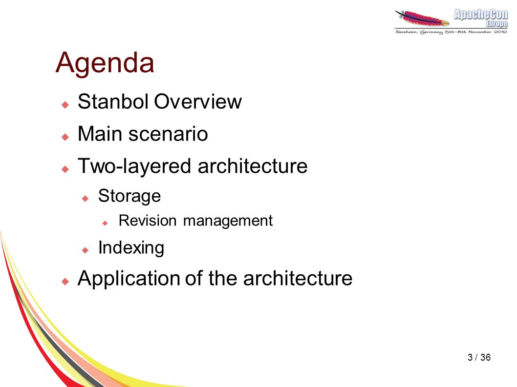 Agenda  Stanbol Overview  Main scenario  Two-layered architecture  Storage  Revision management  Indexing  Application of the architecture 3 /