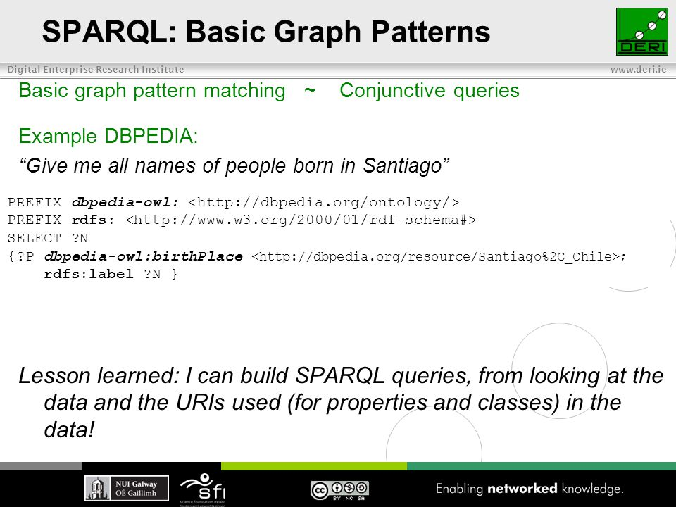 Digital Enterprise Research Institute www.deri.ie SPARQL: Basic Graph Patterns Basic graph pattern matching ~ Conjunctive queries Example DBPEDIA: Give me all names of people born in Santiago Lesson learned: I can build SPARQL queries, from looking at the data and the URIs used (for properties and classes) in the data.