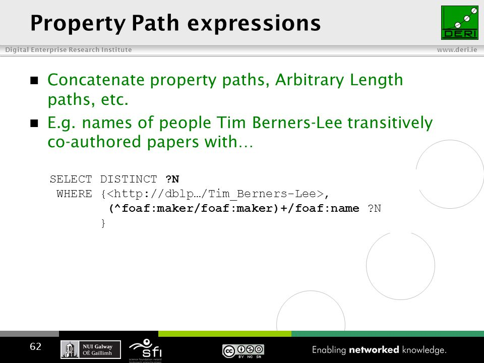 Digital Enterprise Research Institute www.deri.ie Property Path expressions Concatenate property paths, Arbitrary Length paths, etc.