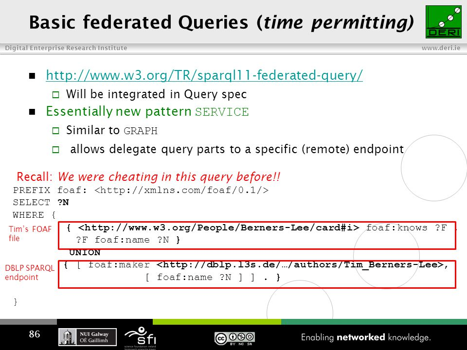 Digital Enterprise Research Institute www.deri.ie Basic federated Queries (time permitting) http://www.w3.org/TR/sparql11-federated-query/  Will be integrated in Query spec Essentially new pattern SERVICE  Similar to GRAPH  allows delegate query parts to a specific (remote) endpoint PREFIX foaf: SELECT N WHERE { { foaf:knows F.