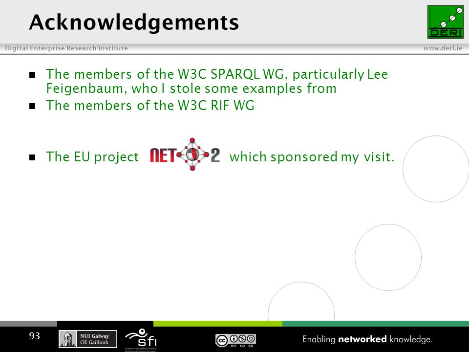 Digital Enterprise Research Institute www.deri.ie Acknowledgements The members of the W3C SPARQL WG, particularly Lee Feigenbaum, who I stole some examples from The members of the W3C RIF WG The EU project which sponsored my visit.