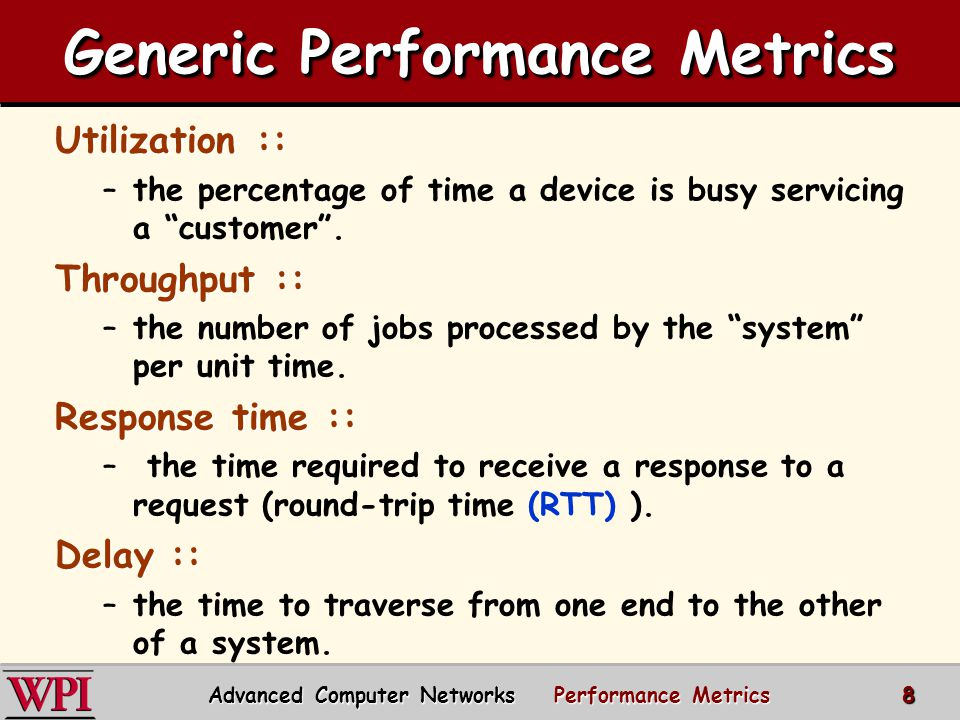 Network Performance Measures  Channel utilization:: the average fraction of time a channel is busy [e.g.
