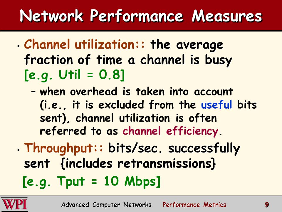 Network Performance Measures  Channel utilization:: the average fraction of time a channel is busy [e.g.