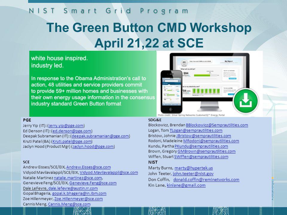 www.greenbuttondata.org PGE Jerry Yip (IT): (jerry.yip@pge.com)jerry.yip@pge.com Ed Denson (IT): (ed.denson@pge.com)ed.denson@pge.com Deepak Subramani