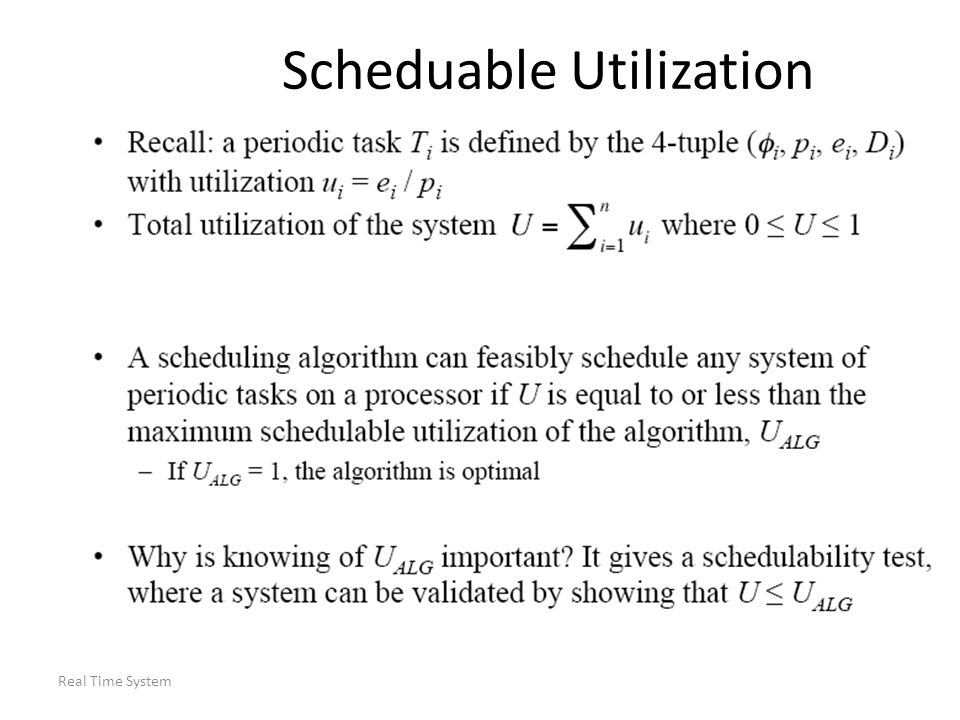 Real Time System Scheduable Utilization