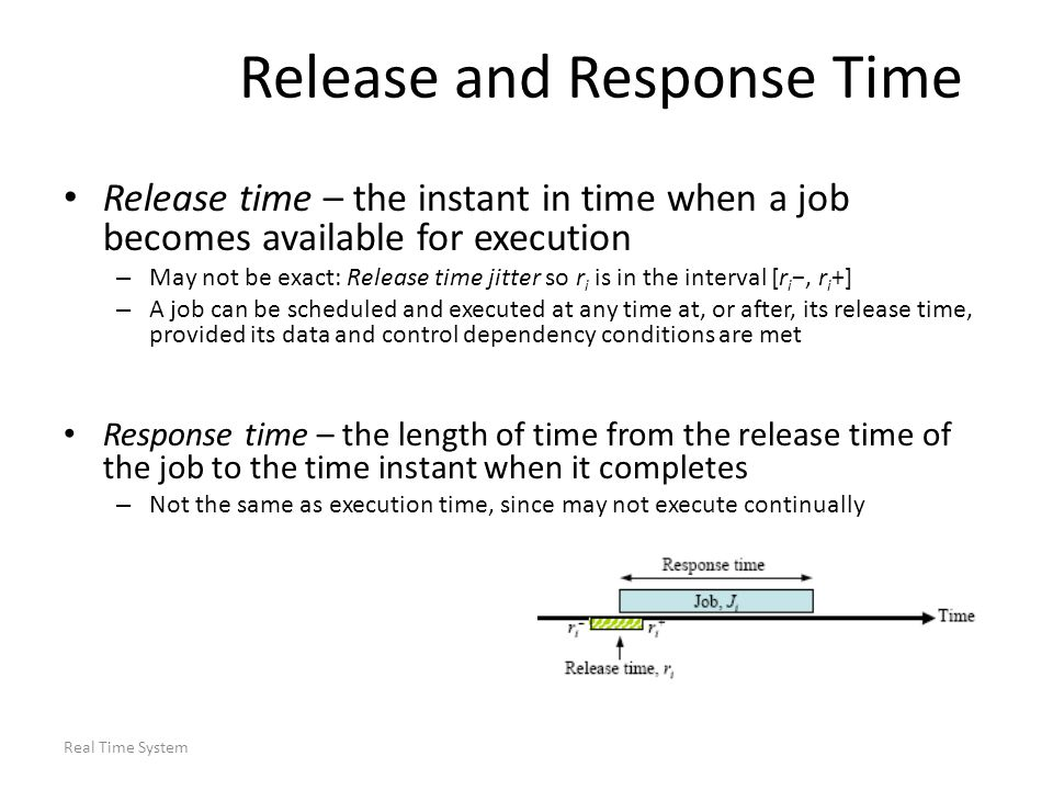 Real Time System Release and Response Time Release time – the instant in time when a job becomes available for execution – May not be exact: Release t