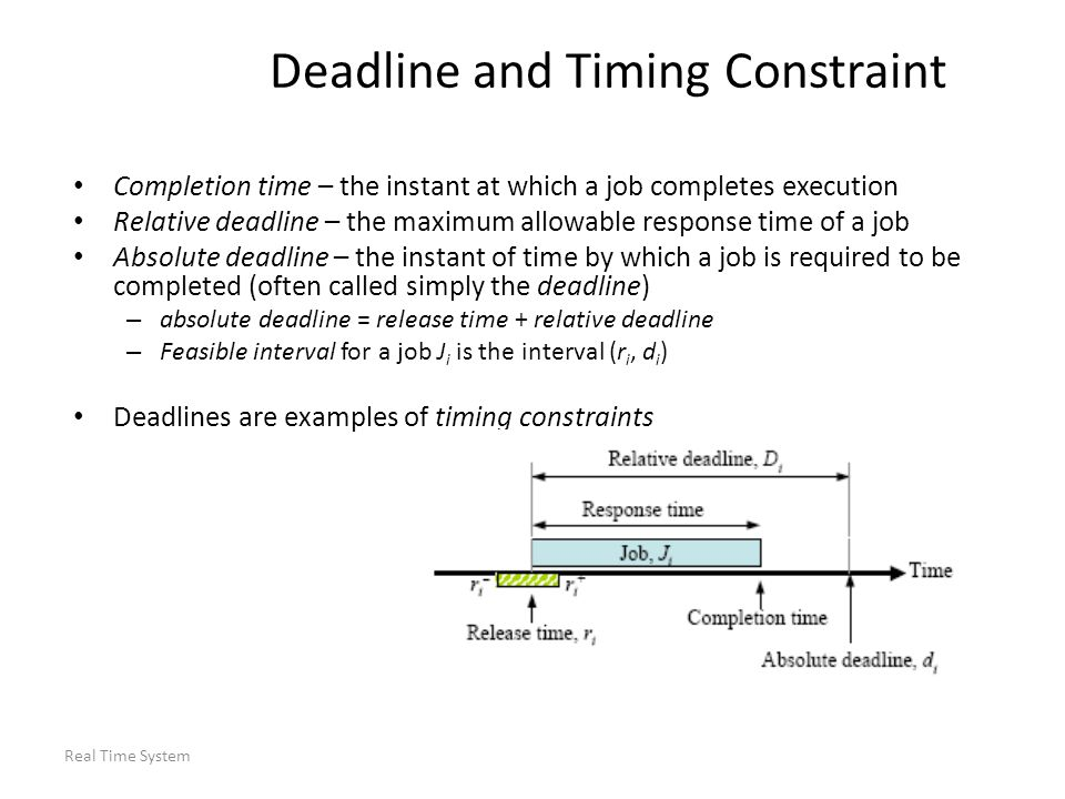 Real Time System Round Robin Scheduling Regular round-robin scheduling is commonly used for scheduling time-shared applications – Every job joins a FIFO queue when it is ready for execution – When the scheduler runs, it schedules the job at the head of the queue to execute for at most one time slice – Sometimes called a quantum – typically O(tens of ms) – If the job has not completed by the end of its quantum, it is preempted and placed at the end of the queue – When there are n ready jobs in the queue, each job gets one slice every n time slices (n time slices is called a round)