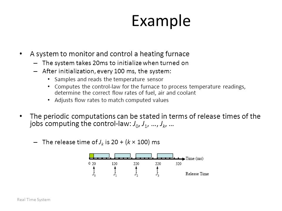 Real Time System Example A system to monitor and control a heating furnace – The system takes 20ms to initialize when turned on – After initialization