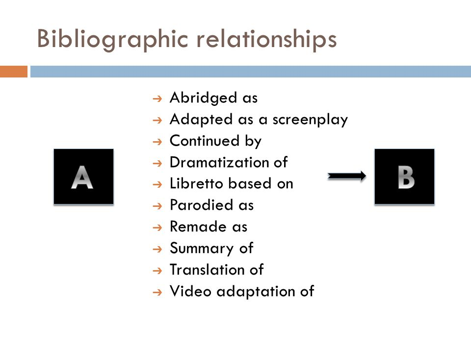 Bibliographic relationships ➔ Abridged as ➔ Adapted as a screenplay ➔ Continued by ➔ Dramatization of ➔ Libretto based on ➔ Parodied as ➔ Remade as ➔ Summary of ➔ Translation of ➔ Video adaptation of