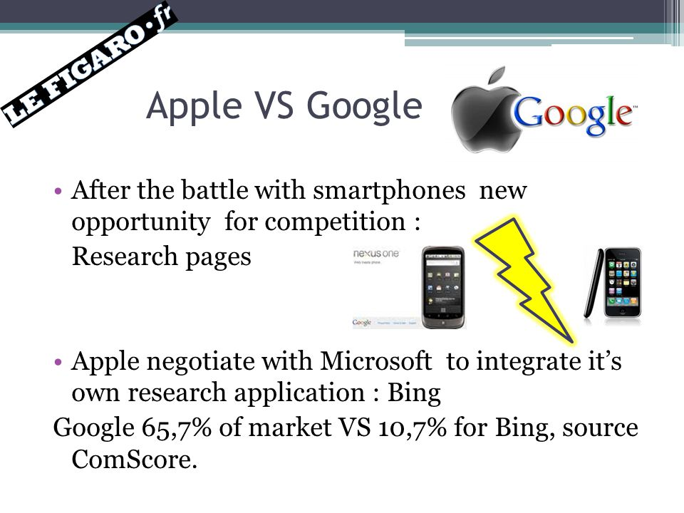 Apple VS Google After the battle with smartphones new opportunity for competition : Research pages Apple negotiate with Microsoft to integrate it's own research application : Bing Google 65,7% of market VS 10,7% for Bing, source ComScore.