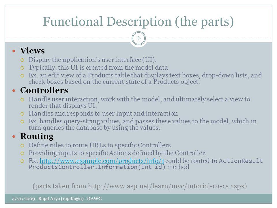 Functional Description (the parts) 4/21/2009 - Rajat Arya (rajata@u) - DAWG 6 Views  Display the application s user interface (UI).