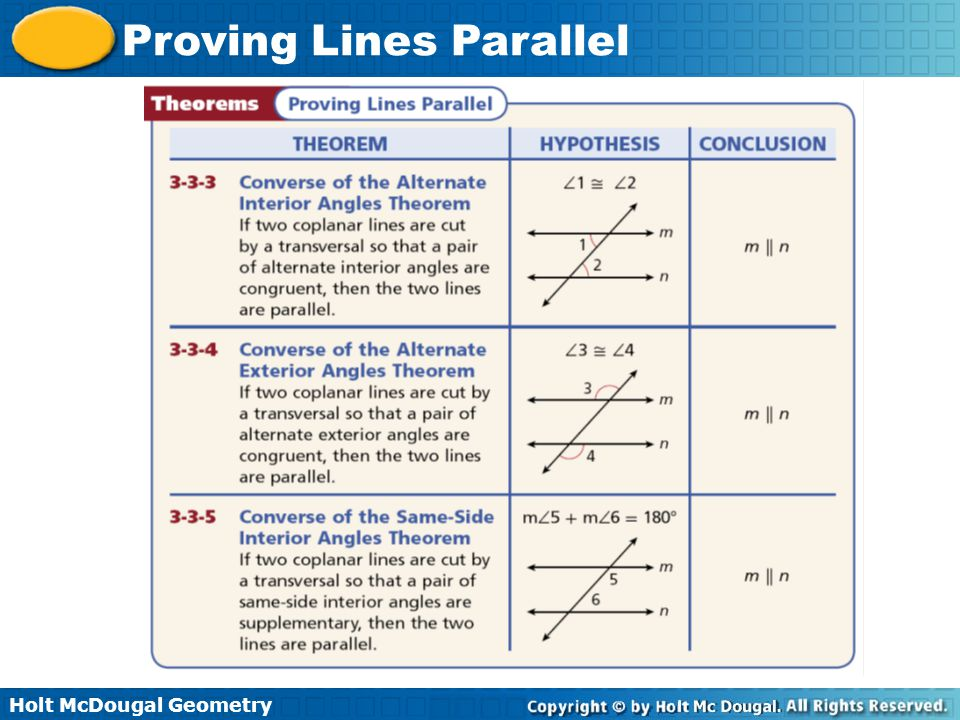 Holt McDougal Geometry Proving Lines Parallel