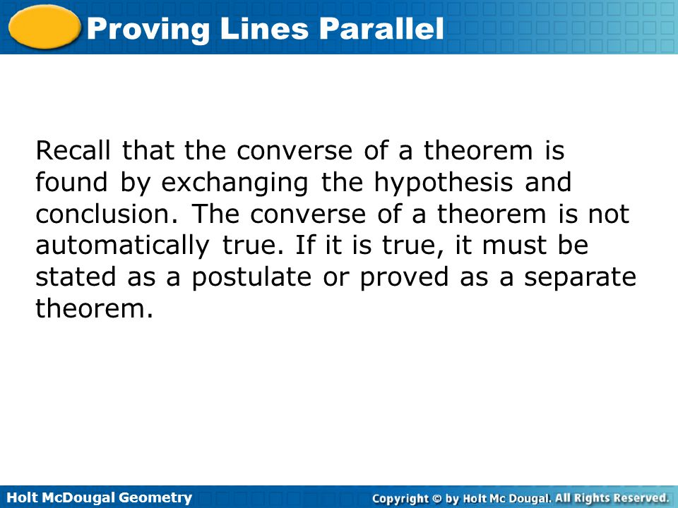 Holt McDougal Geometry Proving Lines Parallel Check It Out.