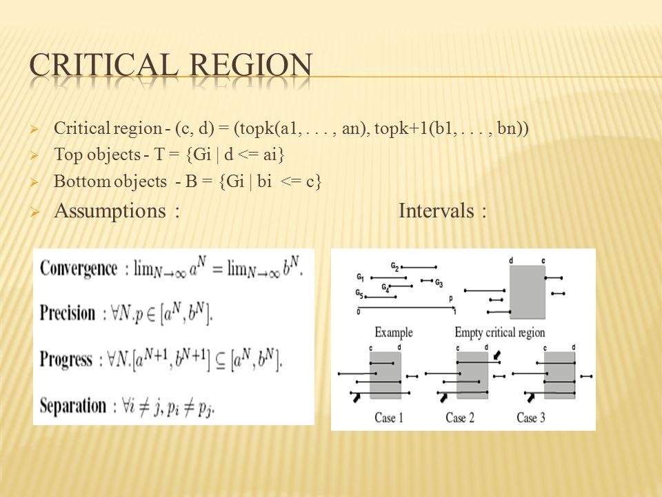  Critical region - (c, d) = (topk(a1,..., an), topk+1(b1,..., bn))  Top objects - T = {Gi | d <= ai}  Bottom objects - B = {Gi | bi <= c}  Assumpt