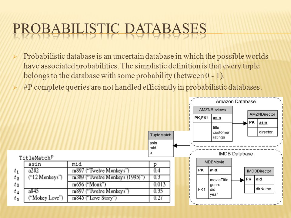  Major challenge in probabilistic database is query evaluation.
