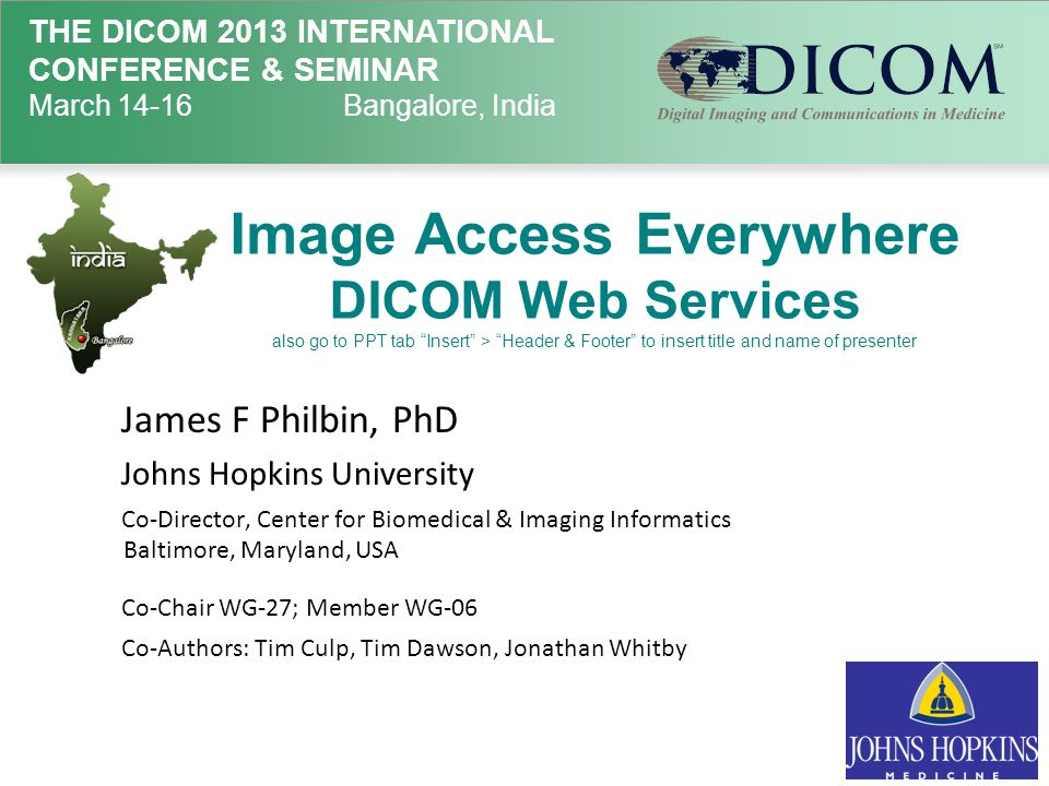 QIDO Capabilities  Look up DICOM objects based on any meta- data, to get additional meta-data and UIDs  Pagination – search with offset & limit 14 March 2013Image Access Everywhere, James Philbin, PhD32