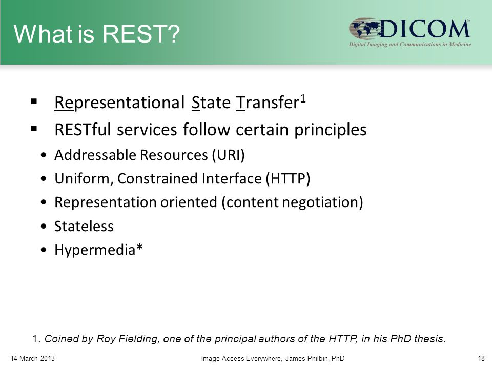 What is REST?  Representational State Transfer 1  RESTful services follow certain principles Addressable Resources (URI) Uniform, Constrained Interf