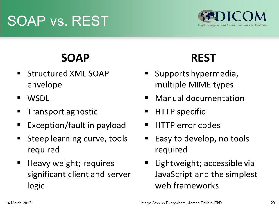 SOAP vs. REST SOAP  Structured XML SOAP envelope  WSDL  Transport agnostic  Exception/fault in payload  Steep learning curve, tools required  He