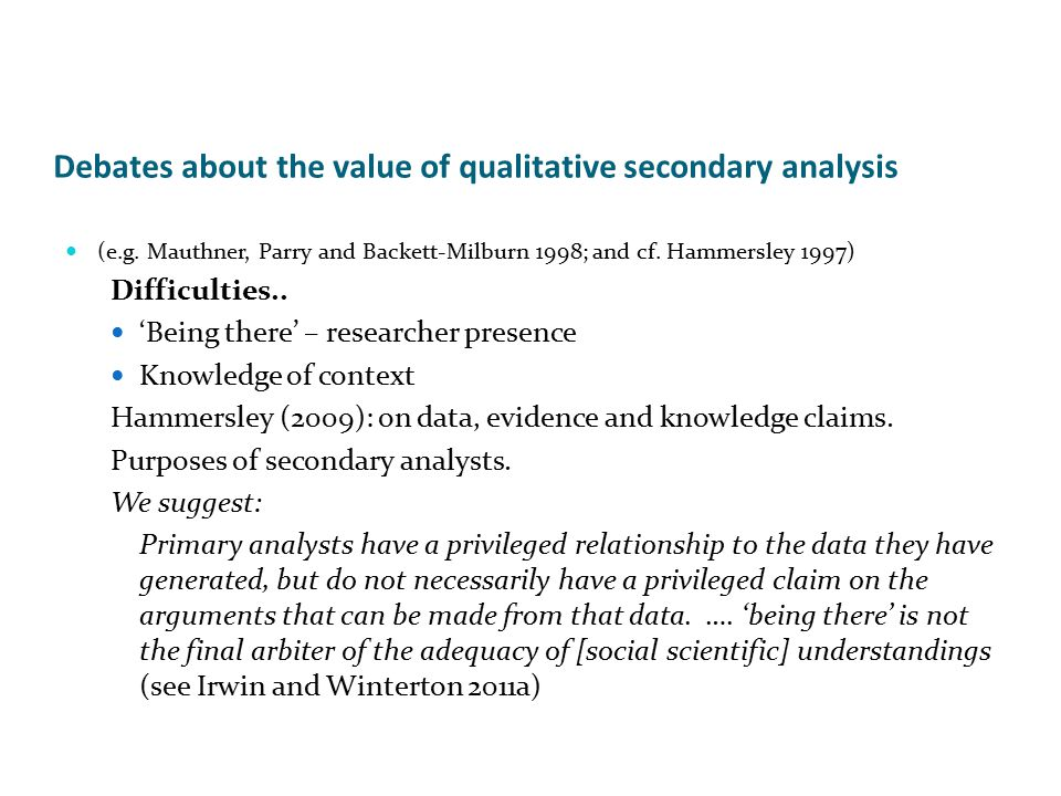 Debates about the value of qualitative secondary analysis (e.g.