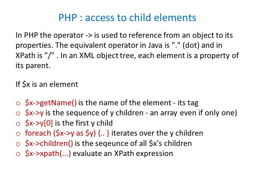 In PHP the operator -> is used to reference from an object to its properties.