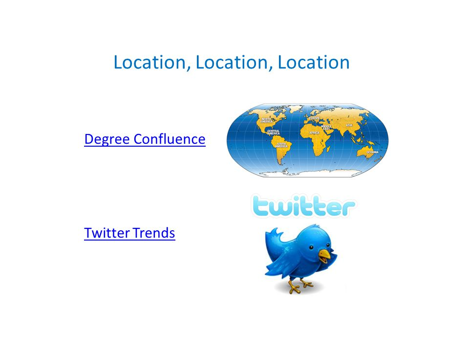 Degree Confluence Twitter Trends Location, Location, Location