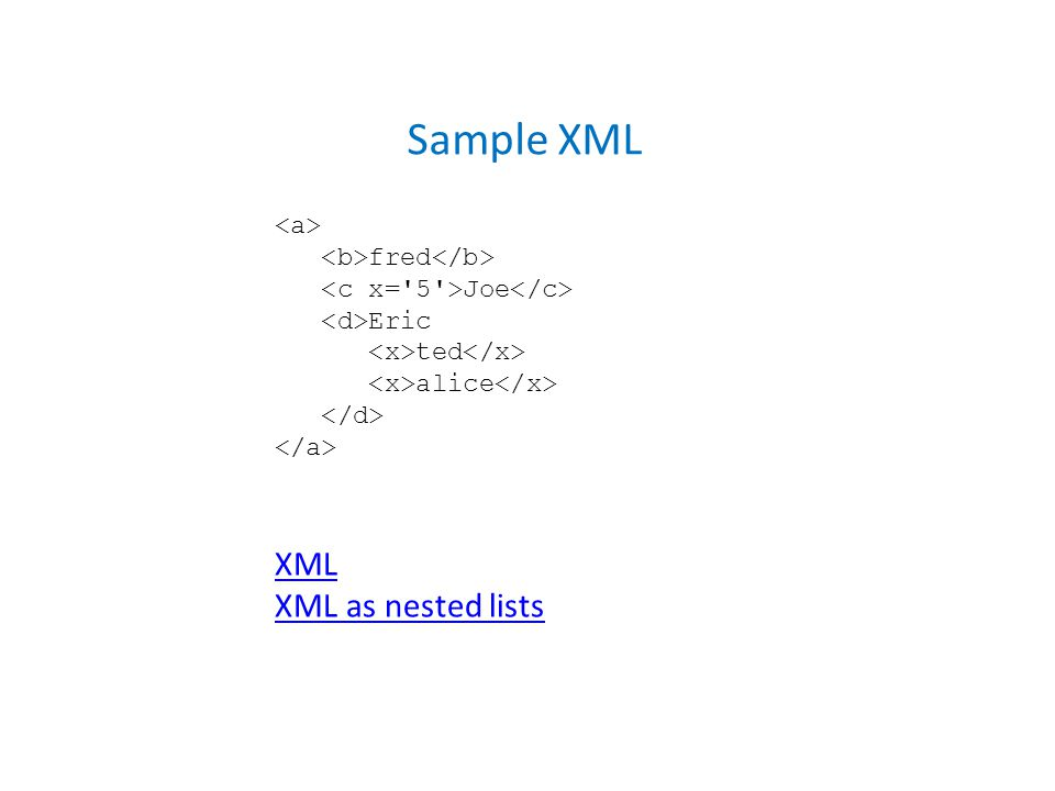 fred Joe Eric ted alice Sample XML XML XML as nested lists