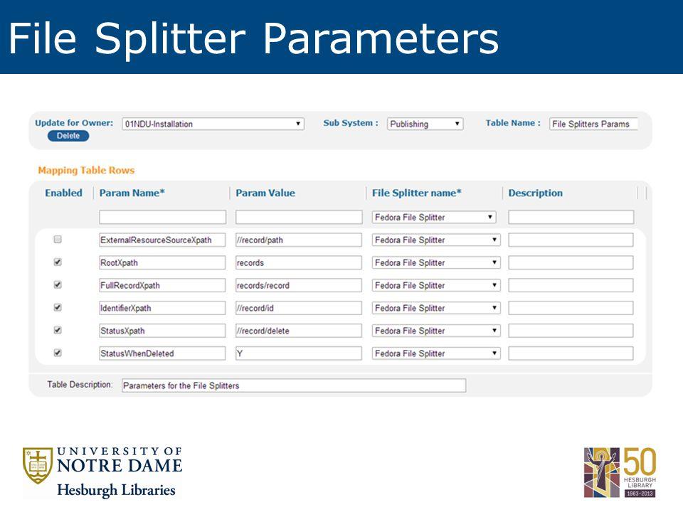 File Splitter Parameters