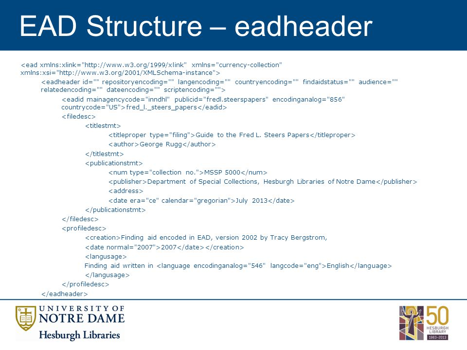 EAD Structure – eadheader fred_l._steers_papers Guide to the Fred L.