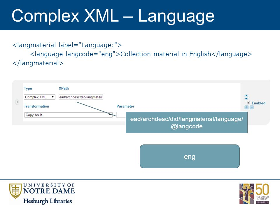 Complex XML – Language Collection material in English ead/archdesc/did/langmaterial/language/ @langcode eng