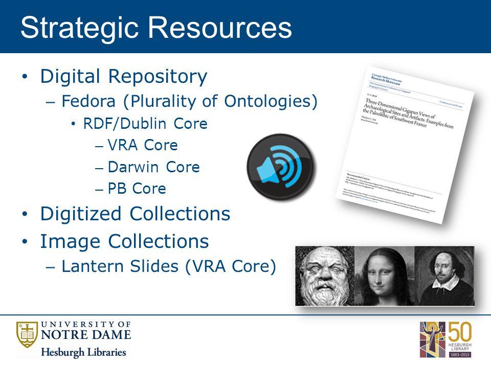 Digital Repository – Fedora (Plurality of Ontologies) RDF/Dublin Core – VRA Core – Darwin Core – PB Core Digitized Collections Image Collections – Lantern Slides (VRA Core) Strategic Resources