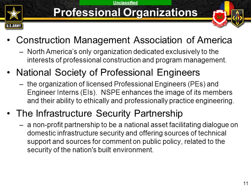 Unclassified Professional Organizations Construction Management Association of America –North America's only organization dedicated exclusively to the
