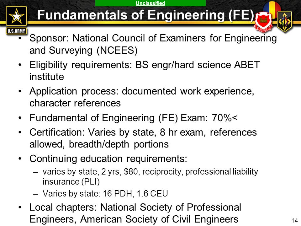 Unclassified Fundamentals of Engineering (FE) Sponsor: National Council of Examiners for Engineering and Surveying (NCEES) Eligibility requirements: B