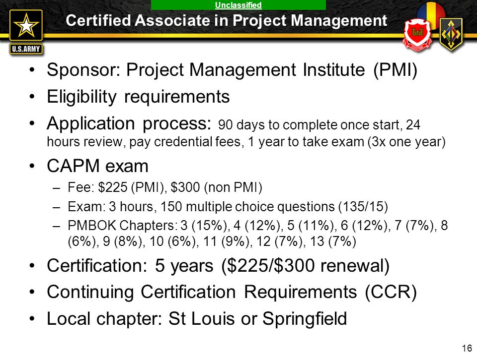 Unclassified Certified Associate in Project Management Sponsor: Project Management Institute (PMI) Eligibility requirements Application process: 90 da