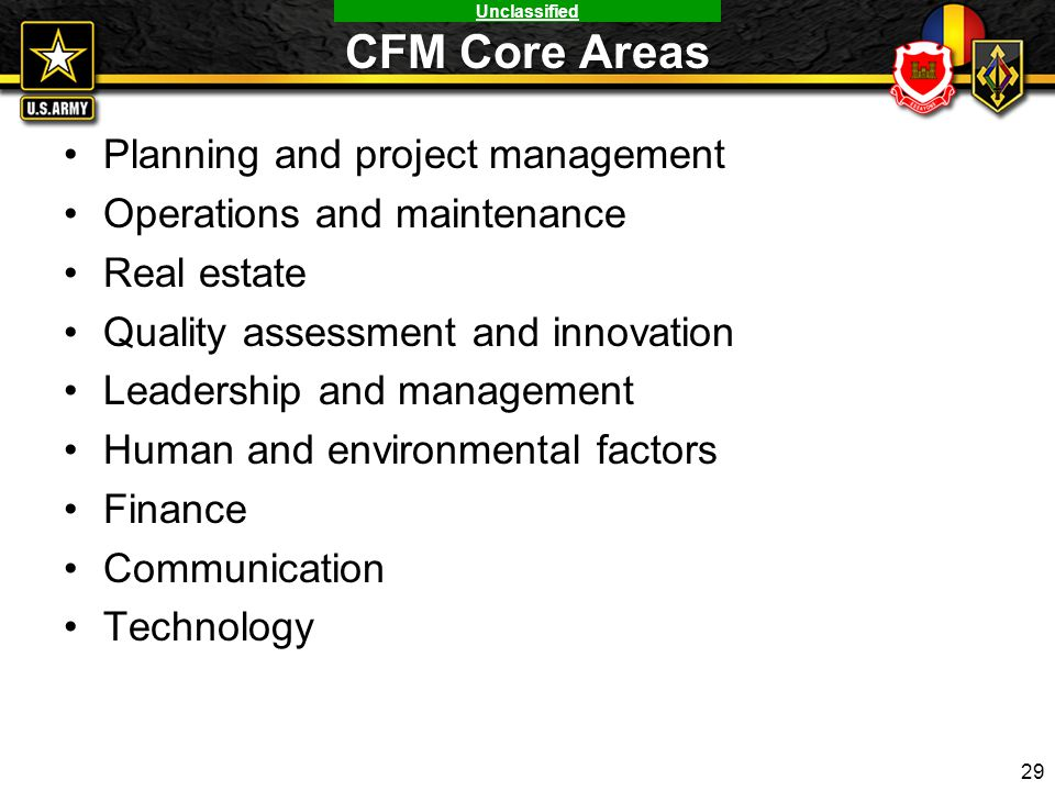 Unclassified CFM Core Areas Planning and project management Operations and maintenance Real estate Quality assessment and innovation Leadership and ma