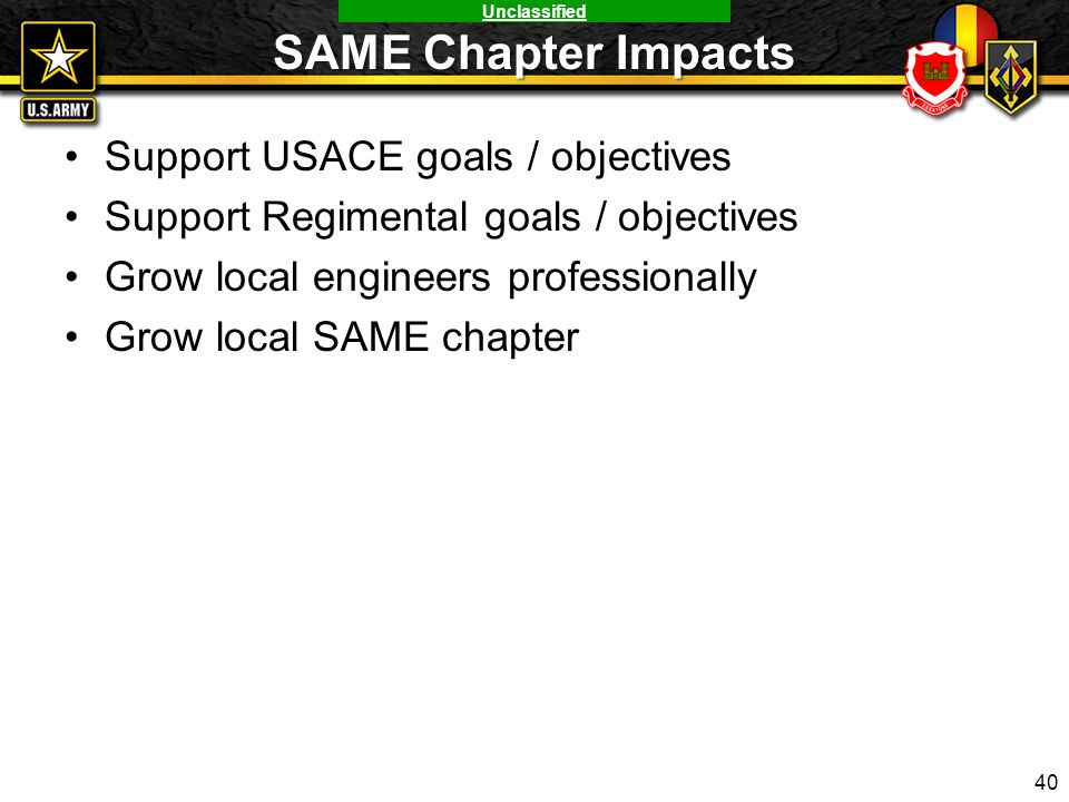 Unclassified SAME Chapter Impacts Support USACE goals / objectives Support Regimental goals / objectives Grow local engineers professionally Grow loca