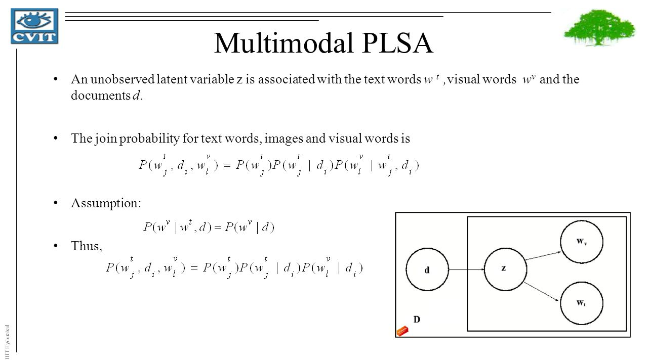 IIIT Hyderabad Multimodal PLSA An unobserved latent variable z is associated with the text words w t,visual words w v and the documents d.