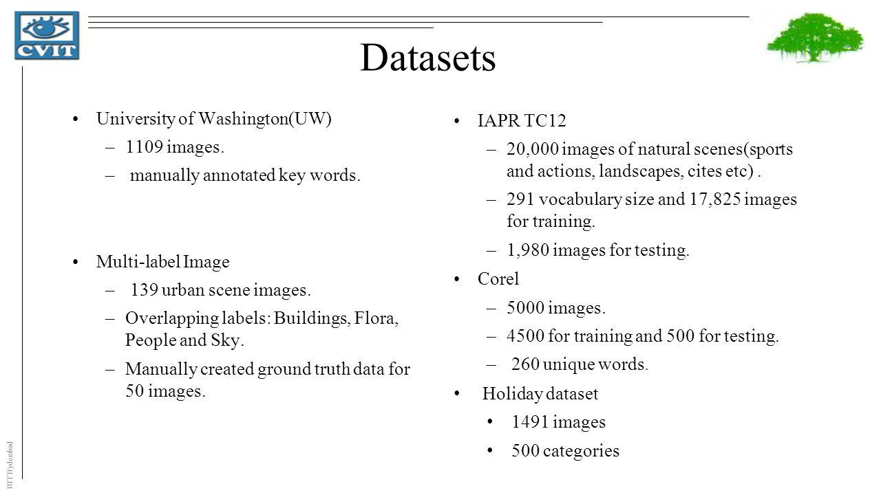 IIIT Hyderabad Datasets University of Washington(UW) –1109 images.